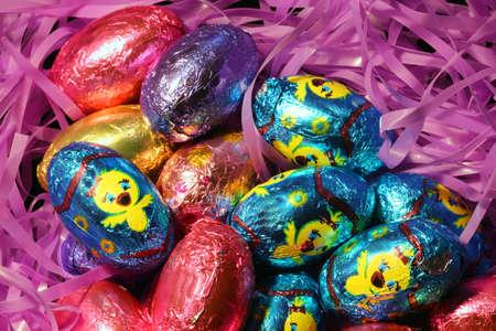 foil: Bright foil wrapped Easter eggs