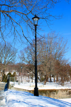 lamp post: Lamp post at the park in winter