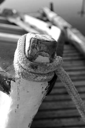 fibreglass: Black and white close up of boat on dry dock Stock Photo