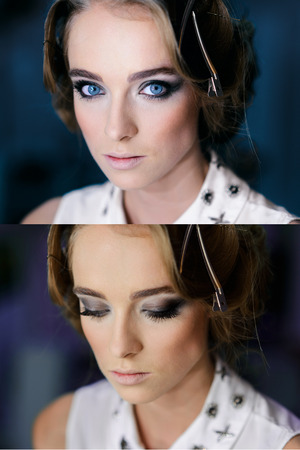 eyes opened: Beautiful girls face with Perfect Makeup smoky eyes. Opened and closed blue eyes.