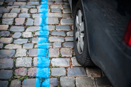 Blue parking zone for cars in the city