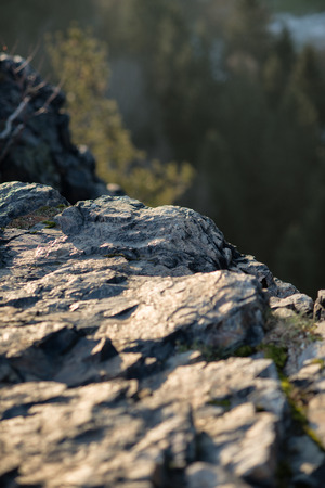 scrambling: Rock at the mountain un sunset time Stock Photo