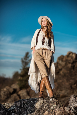 Young woman outdoors fashion portrait