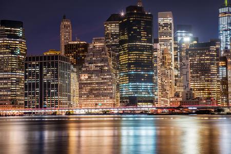 New York City Manhattan gratte-ciel du centre-ville, Horizon, la nuit