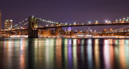 moon  metropolis: Brooklyn bridge at the night, New York City