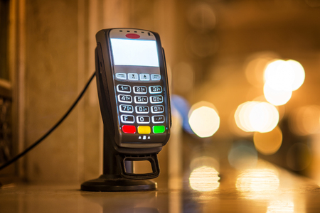 pincode: Credit Card payment Terminal at ticket office at Grand Central railway station in New York city