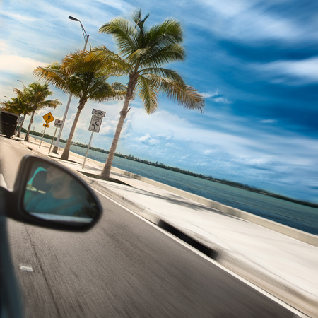 driving: Man driving a car across paradise road with palms and ocean Stock Photo