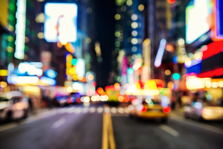 new york city times square: Blurred street llumination and night lights of New York City