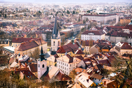 arial view: Arial view on Ljubljana city