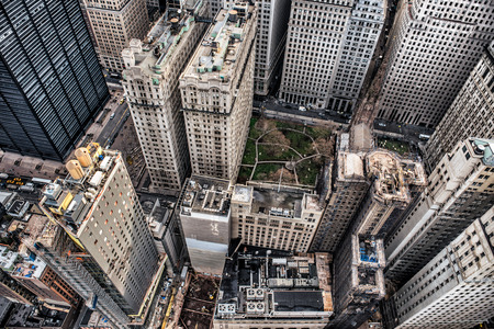 arial: Arial view to Manhattan skyscrapers in Downtown financial disctrict