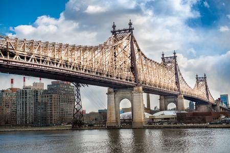 queensboro bridge: Ed Koch Queensboro Bridge from Manhattat to Queens. Viev on Rusvelt Island and East River.