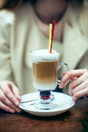 frappe: Woman hands holding coffee frappe Stock Photo