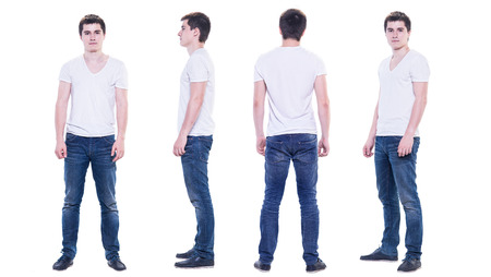 lenght: Collage photo of a young man in white t-shirt isolated, front, back, side view.