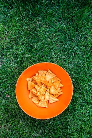 picnick: corn nachos on the picnic Stock Photo