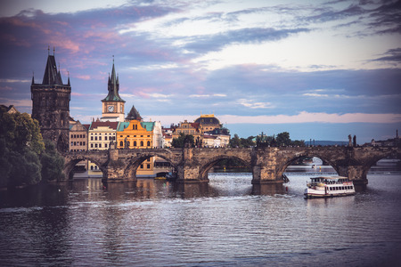 most: Charles Bridge (Stone Bridge, Karlov most, Prague Bridge, Prazhski most) over Vltava river in Prague, Czech Republic Stock Photo