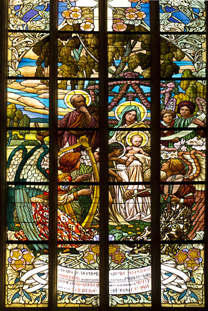 religious habit: stained glass window in old church