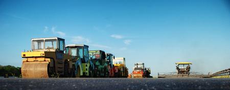 vibration: Heavy Vibration roller at asphalt pavement works. Concept photo of road works.