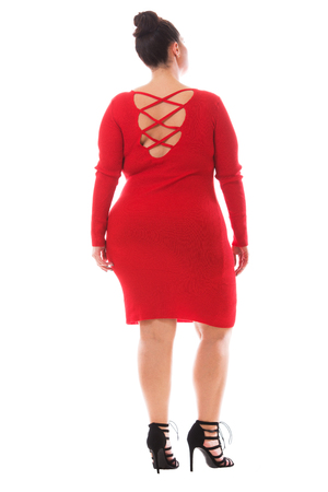 high size: Full-length portrait of beutiful plus size model woman wearing elegant fashionable red dress and black high heels isolated on white background