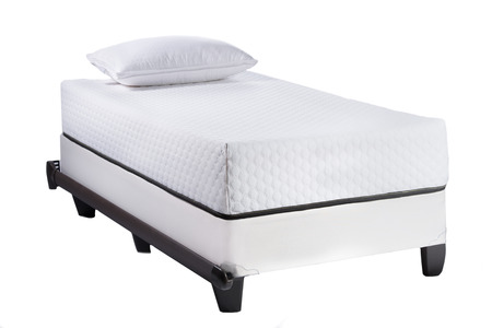 Twin Bed Frame With Soft Mattress And White Pillow Isolated On ...