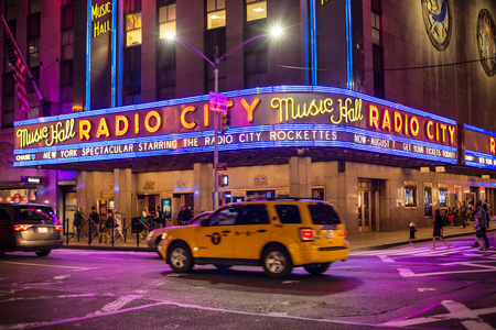 NEW YORK CITY - JULY 1: Radio City Music Hall July 1, 2016 in New York, NY. Completed in 1932, the famous music hall was declared a city landmark in 1978 and became famous place for tourists.