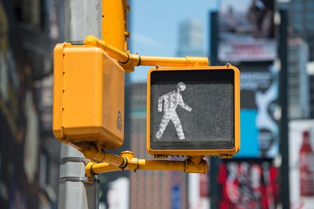Pedestrian traffic walk light on New York City street