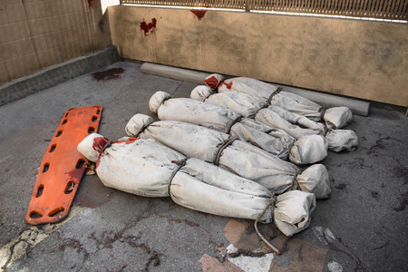 Death bodies in bags after terrorist attack or virus epidemy Stock Photo