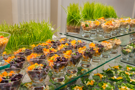 Healthy spring fruit salad appetizer assortment at the event catering buffet
