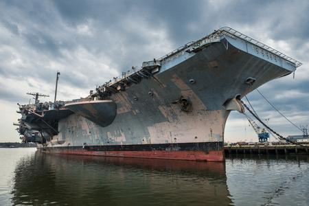 battleship: US Navi  aircraft carrier warship in the port