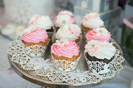 afternoon fancy cake: Cupcaces on plate on buffet table. Colorful beautiful cupcakes with cream. Stock Photo