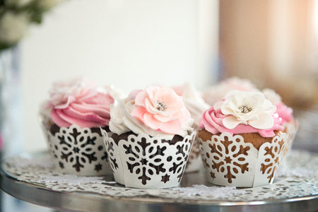 Cupcaces on plate on buffet table. Colorful beautiful cupcakes with cream. Stock Photo