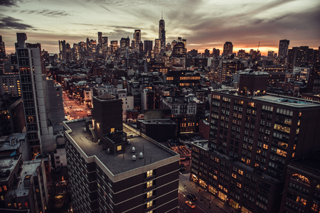 New York City Manhattan Midtown aerial view to skyscrapers at twilight time 免版税图像