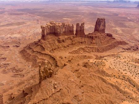 Monument valley rocks in Arizona desert. Aerial view.