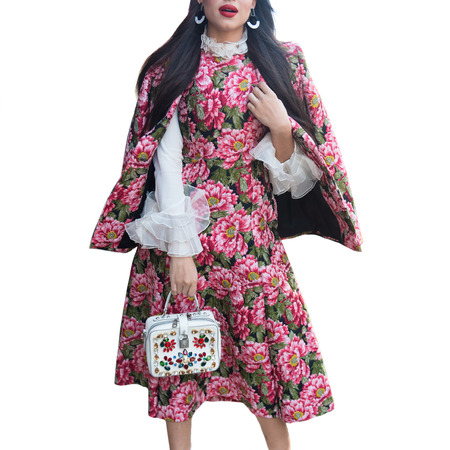 Flower pattern luxury pink dress and fashionable jacket and bag with rhinestones. Female spring style smart casual outfit.