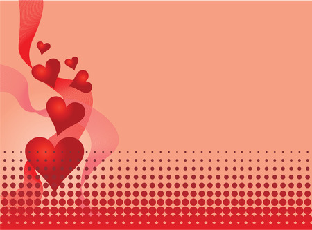 Vector pink background with hearts and waves Vector