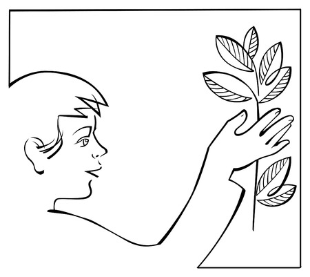 young boy with plant in hand. vector iilustration Vector
