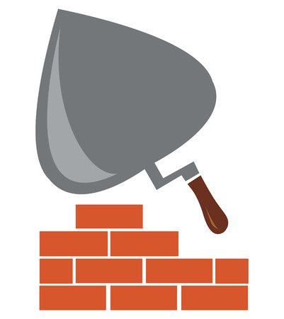 building symbol with trowel and bricks