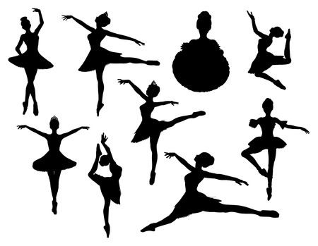 crown silhouette: siluetta di vettore del ballerina Vettoriali