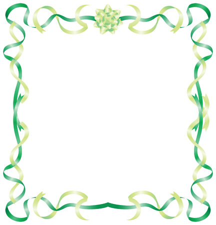vector green ribbon frame with gift bow Illustration