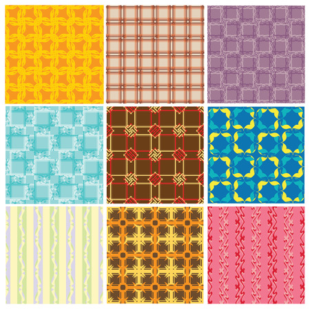 9 different colourful seamless vector pattern