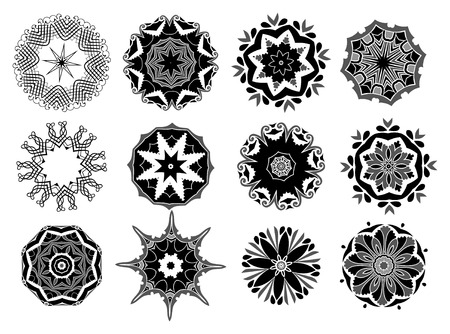 12 different vector oramental rosette Illustration