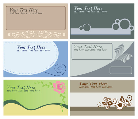 collection of 6 different business cards templates Vector