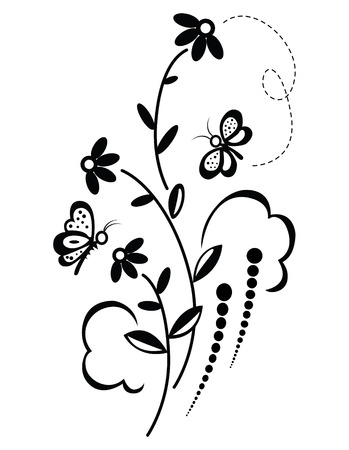 dashed: decorative floral vector ornament with butterfly Illustration