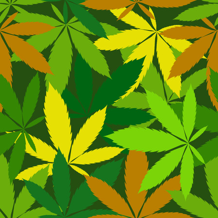 cannabis leaf: vector seamless pattern of cannabis leaf