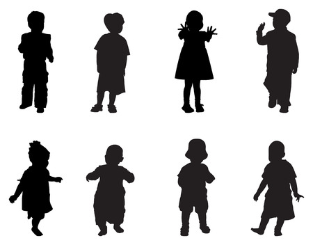 silhouettes of children: children vector silhouette Illustration