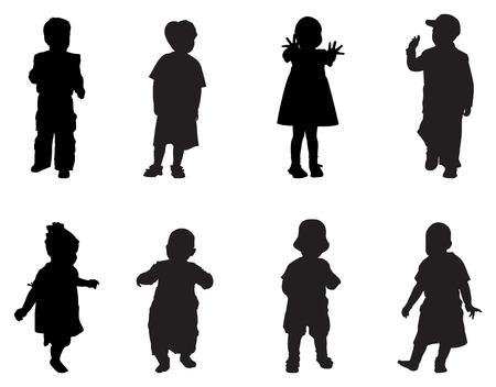 enfants noirs: enfants vecteur silhouette