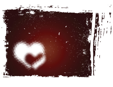 vector grunge background with halftone heart Vector