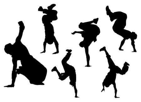 vector silhouettes of breakdancing