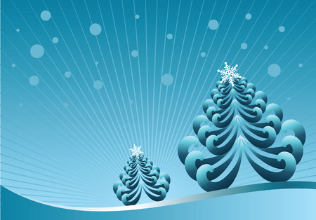 winter vector illustration with christmas tree Stock Vector - 4053373
