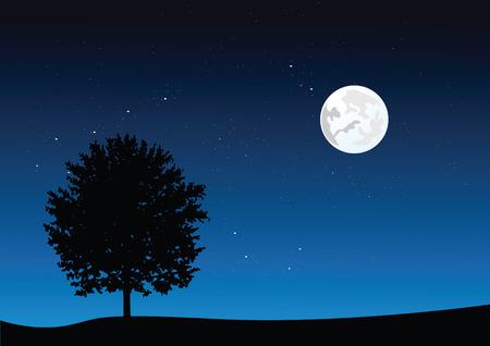 la luz de la luna paisaje. ilustración vectorial