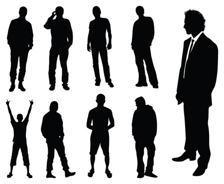 man collection vector silhouette Illustration